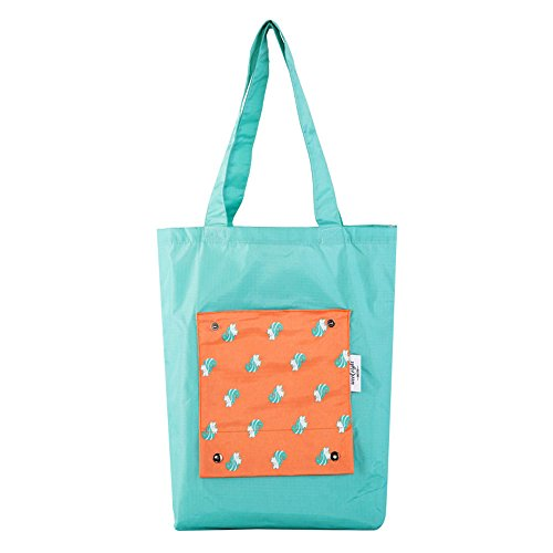 Squirrel Bags Recycle Foldable Waterproof Shopping Totes for Travel School,Animal Print Green