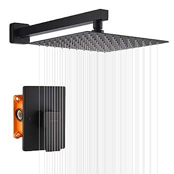 Image of KOJOX Shower system with Rain Shower Head, Single Function shower valve Shower Set Combo with Trim Kit (Matte Black)