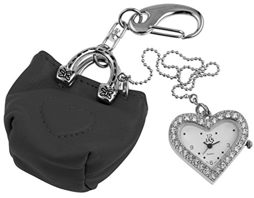 JAS Unisex Novelty Belt Fob/keychain Watch Black Purse Silver Tone
