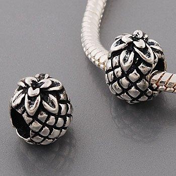 Andante-Stones perle Argent 925 en forme d'ananas Élément bille pour perles European Beads module Bracelet + Étui en organza