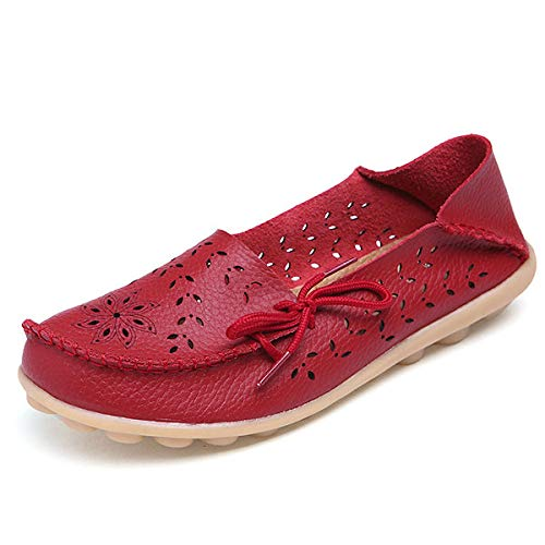 ZHRUI Mocassini Mocassini Mocassini da donna di grandi dimensioni in pelle scava fuori le scarpe piatte morbide comfort da lavoro infermiere (Colore : Nero, Dimensione : EU 40) Rosso b66525
