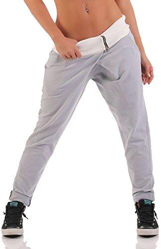 malito envolver Pantalón Boyfriend Torcedura Baggy Aladin Bombacho Sudadera 3318 Mujer Talla Única gris claro