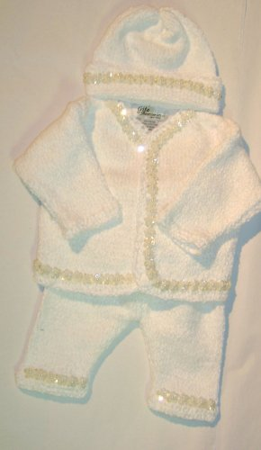 Gita Baby-girls Cardigan Pant Hat Set Trimmed with Sequin Star Ribbons