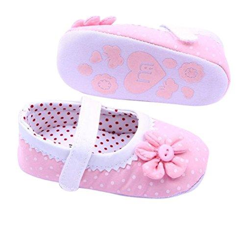 Zapatos de bebé,Xinantime Zapatos de las muchachas del verano Flor cuero de la PU (S, Rojo) Rosa Claro