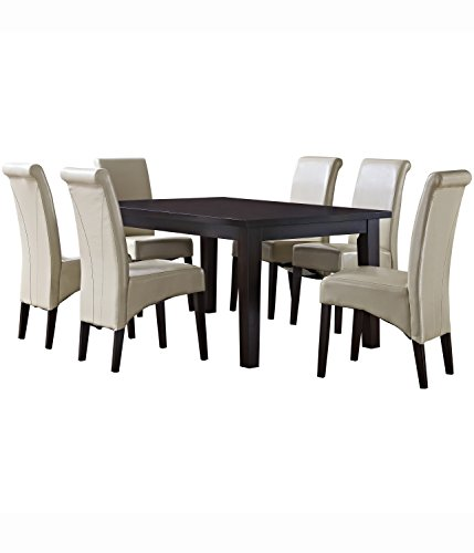 Simpli Home Avalon 7 Piece Dining Set, Satin Cream