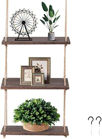 Z L HOUSE 3-Layer Farmhouse Rope Shelf Wooden Wall Mounted Shelf Used