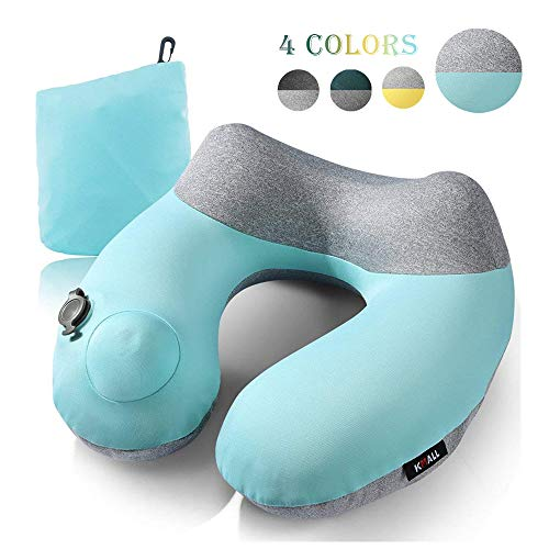 Inflatable Travel Pillow – Kmall Compact Travel Pillows for Airplanes Summer Cool Inflatable Neck Pillow Support Head…