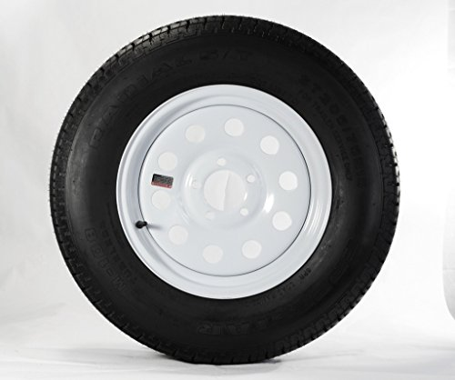 """Wheels Express Inc 14"""" White Mod Trailer Wheel with Radial ST205/75R14 Tire Mounted (5x4.5) bolt circle"""