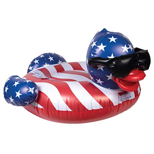 GAME 51418-BB Stars & Stripes Derby Duck Pool Float, Large, Multicolor