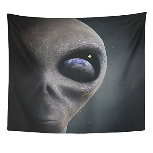 VaryHome Tapestry Blue Ufo Alien Looking at the Earth Gray Invasion Paranormal Home Decor Wall Hanging for Living Room Bedroom Dorm 50x60 Inches by VaryHome