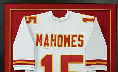 Patrick Mahomes Kansas City Chiefs Autograph Signed Custom Framed White Jersey Suede Matted JSA Witnessed Certified