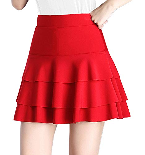 (Afibi Stretchy Flared Ruffle Layered Mini Skater Skirts for Women (X-Large, Red))