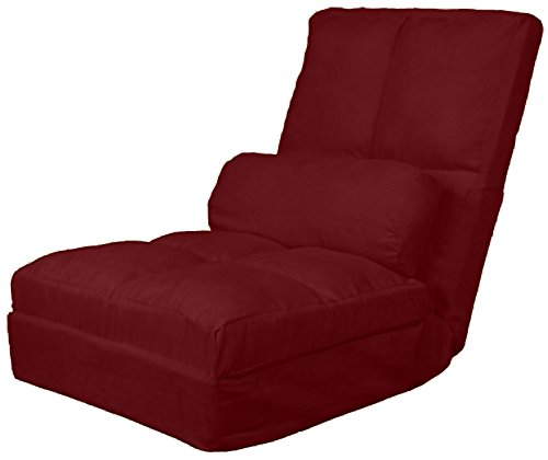 - Cosmo Click Clack Convertible Futon Pillow-Top Flip Chair Child-size Sleeper Bed, Microfiber Suede Cardinal Red