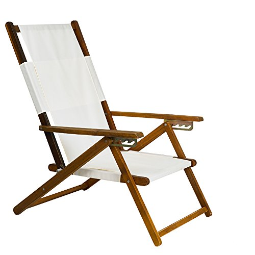 APEX LIVING Patio Portable Wooden Beach Folding Chair Adjustable Chaise Lounge White (Patio Wooden Chairs)
