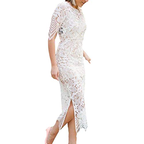 (Allywit Women's Elegant Lace Floral Sleevless Ruffle Trim Business Party Cocktail Sheath Pencil Dress White)