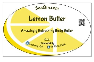 (LEMON BUTTER - 100% Pure and all Natural - For Skin, Hair and Nail Care. With vitamin E, omega 3 and lecithin - Refreshing butter - large 8 oz Jar)