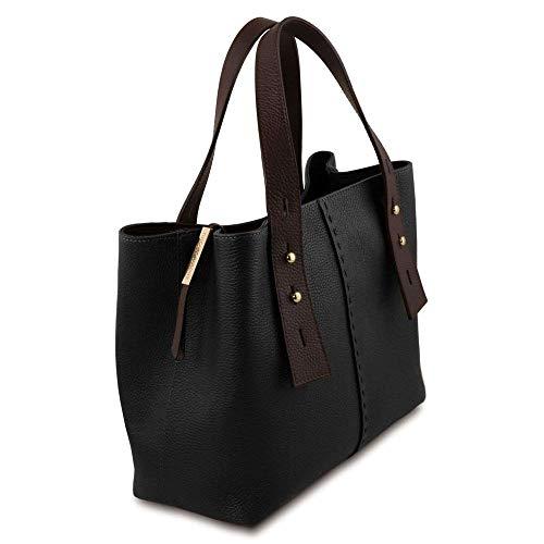Negro Mujer Tl141730 De Tuscany Bolso Hombro Compact Cuero Para Al Leather zn5qR