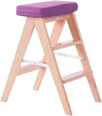 Hyl Taburetes Escalera Escaleras telescópicas Taburetes De Escalera Madera Maciza Cocina Taburete Plegable Casa Escalera Plegable Silla Ascendente para Adultos (Color : C): Amazon.es: Hogar