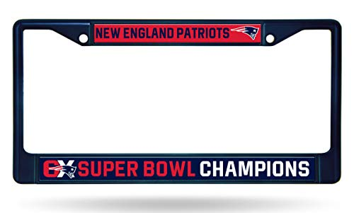 Rico Industries, Inc. New England Patriots 6X Super Bowl Champions Navy Chrome Frame Metal License Plate Tag Cover Football ()