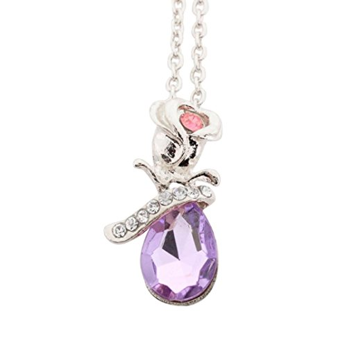 Molyveva Exquisite Rose Flower Pendant Necklace Crystal Teardrop Lover Birthday Friendship Jewelry Gifts (Purple & Silver)