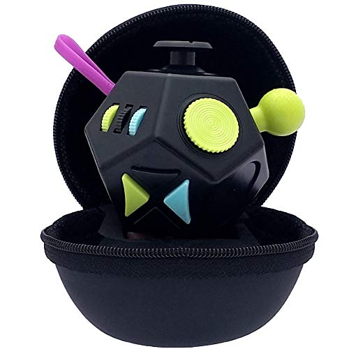 PILPOC theFube Fidget Cube - Premium Quality 12 Sides Fidget Cube Dice Dodecagon with Exclusive Carry Case, Durable, Relieve Stress and Anxiety, for ADD, ADHD, OCD (Black & Mix Colors)