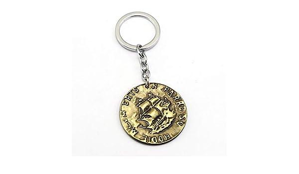Uncharted 4 Un Ladróns Fin Big Coin Llavero Ps4 Metal Llavero Anillo Cadena Pirata Vintage Colgante Souvenir Hombres Regalo Regalo: Amazon.es: Juguetes y juegos