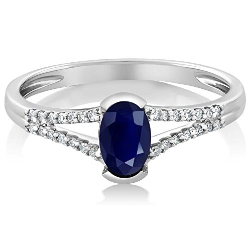 10K White Gold Women's Oval Blue Sapphire Diamond Ring (Size 5,6,7,8,9)