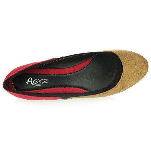 Comfort Rosso Casual Slip Pumps Ladies Cammello Womens Colorful Taglia Everyday Piatte On Ballerine qwRfB7x