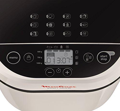 Moulinex OW210130 Pain Doré - Panificadora 1Kg, pantalla LCD, 12 programas automáticos, bizcochos, masas, mermeladas y cremas avena, sin gluten, 3 ...