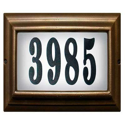 Qualarc Edgewood Large Lighted Address Plaque in Oil Rub Bronze Frame Color with LED Bulbs