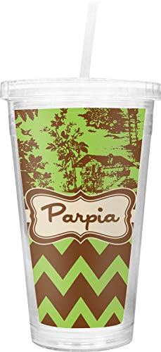 (Green & Brown Toile & Chevron Double Wall Tumbler with Straw (Personalized))