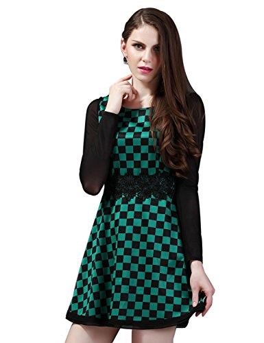 Maxchic Women's Mesh Long Sleeve Checked Print Fit-and-Flare Dress Q12514Y12M,Green,Medium