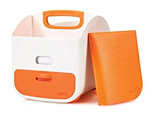 Ubbi Portable Diaper Changing Station + Diaper Storage Caddy Organizer with Changing Mat: Easily stores Baby Diapers, Wipes + Baby Accessories - Orange