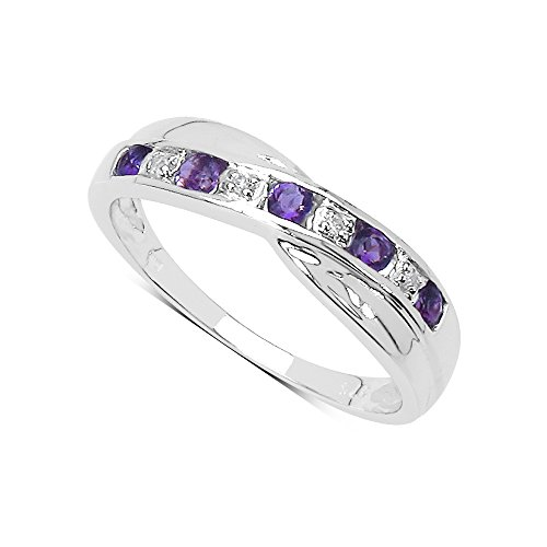 The Diamond Ring Collection: 9ct White Gold Amethyst & Diamond Channel Set...