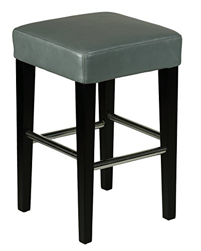 Cortesi Home Viking Counter Stool in Genuine Leather with Black Legs, Steel Grey