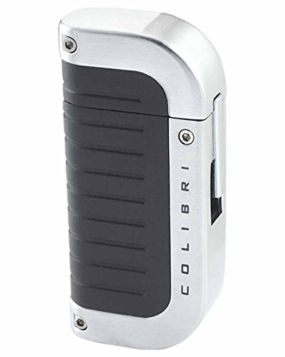 Quantum Lighter (Profusion Quantum Single Windproof Flame Cigar Lighter in an Attractive Gift Box Black Sand Silver)