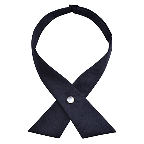Solid Criss-cross Bow Ties for School Uniform Pre Tied Bowties, Dark Navy