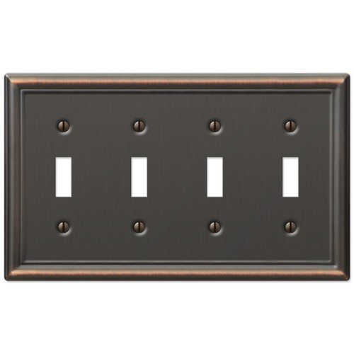 Four Toggle Wall Switch Plate Cover - Oil Rubbed Bronze ()
