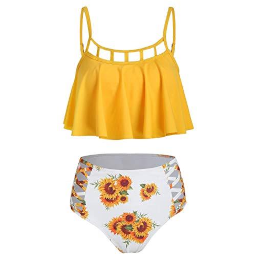 (Sunflower Bikini,Pengy Women's Two Piece Halter Flounce Bikini Set Cute Strappy Floral Swimsuits Yellow)