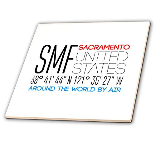 - 3dRose Alexis Design - Around The World By Air - Impressive text SMF, Sacramento, United States, location coordinates - 6 Inch Ceramic Tile (ct_311082_2)