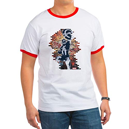 CafePress Captain America Graffiti Wall Ringer T-Shirt, 100% Cotton Ringed T-Shirt, Vintage Shirt Red/White ()