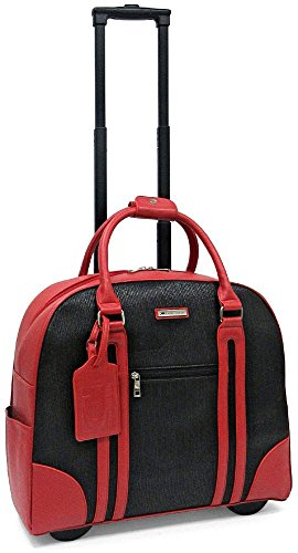 Cabrelli Rachel Racing Stripe 15'' Laptop Rollerbrief - Red/Black by Cabrelli
