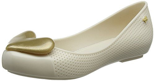 6 Pop Womens Black Zaxy Heart Pumps Flat Ballet Beauty Ivory OBxqHwF