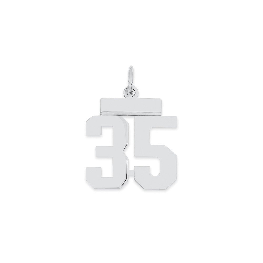 Beautiful Sterling silver 925 sterling Sterling Silver Rhodium-plated Small Polished Number 35 Charm