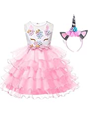 3-10Y Girl Unicorn Costume Pageant Flower Princess Party Dress with Headband