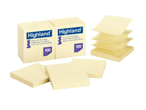 Highland Pop-up Notes, 3 x 3-Inches,Yellow, 12-Pads/Pack by Highland