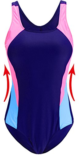 EBMORE Womens One Piece Swimsuit Bathing Suit Chlorine Resistant Athletic Sport Training Exercise (XL/US 10-12, Blue B) (Coverage Moderate Back)