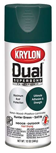 Krylon K08827001 'Dual' Superbond Paint and Primer, Satin Hunter Green, 12 Ounce (Green Satin Hunter)