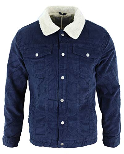 TruClothing.com Mens Denim Jacket Fur Fleece Lined Jeans Corduroy Blue Black Beige Vintage - Navy Corduroy S