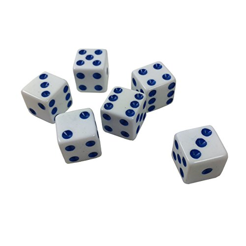 Lot of 200 Game Dice - 16mm - Many, Many, Many colors available! (White (blue pips))